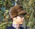 咖色�M口水貂皮帽子