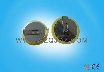 LIR2032焊脚电池可充电池3.6V插脚