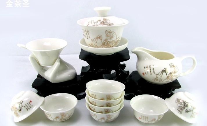 高级陶瓷收藏版纪念茶具,200套起订
